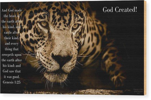 God Created Jaguar - Wood Print - Love the Lord Inc