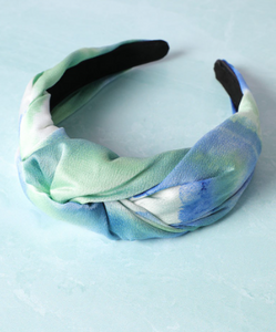Twist tie dye headband green