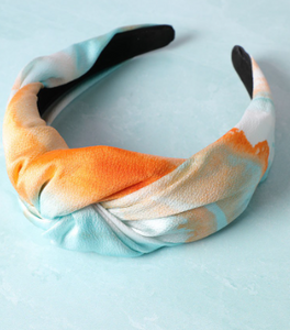 Twist tie dye headband orange