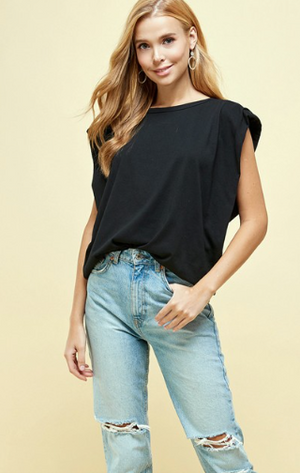 Jane structured tee in black