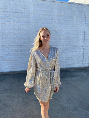 Shine On wrap dress