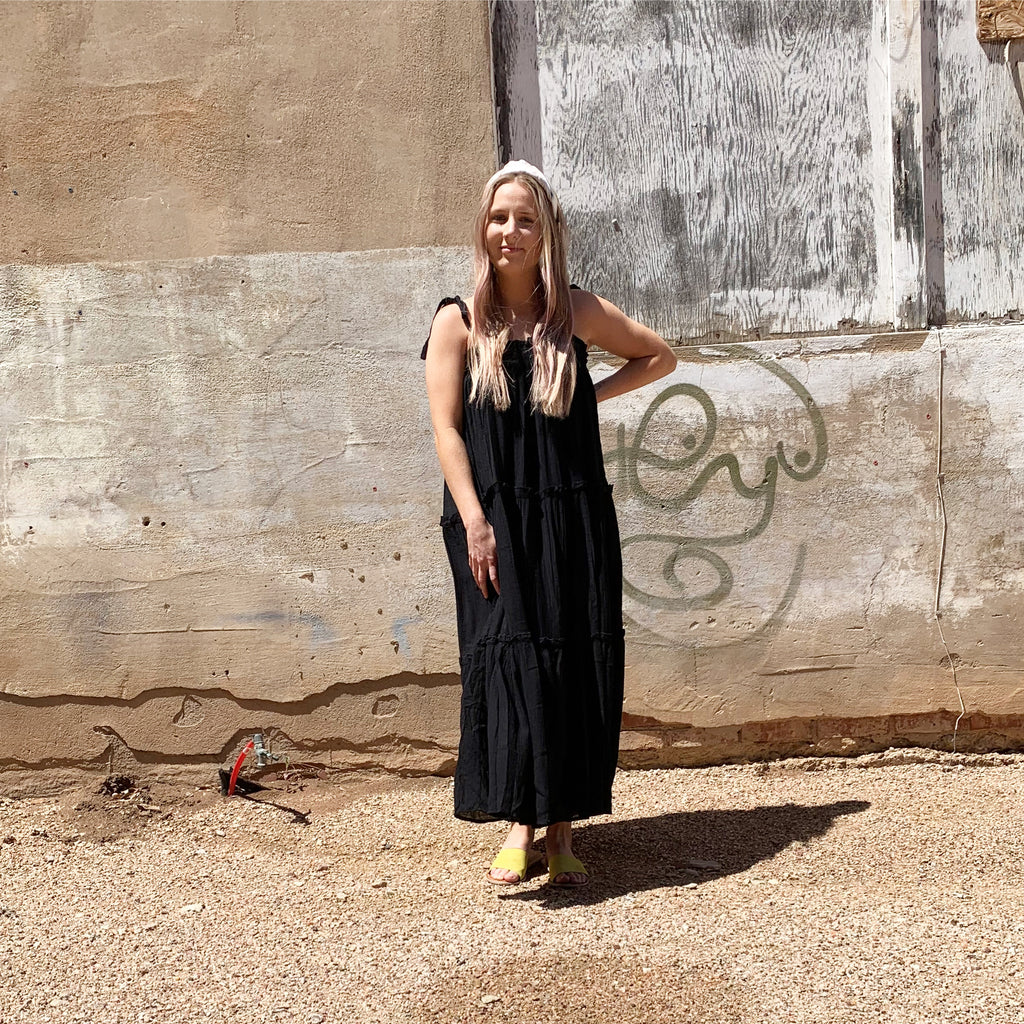 Issa tiered maxi dress in black