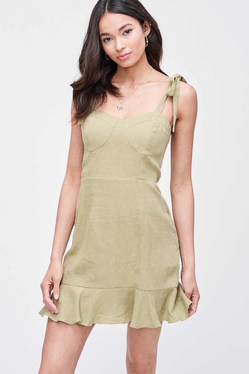 Pamilla tie dress in sage