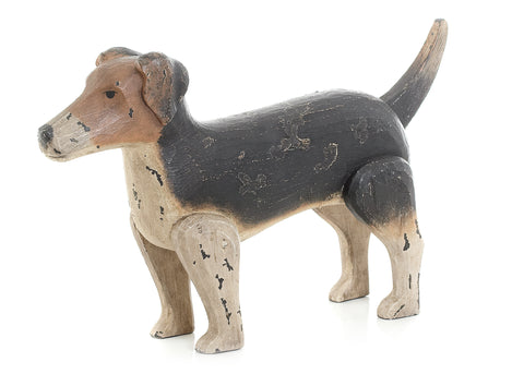 Antique Painted Finish Jack Russell Dog