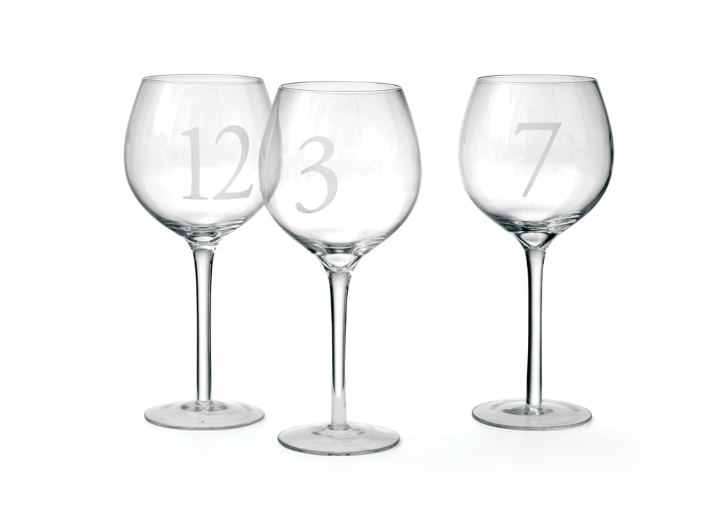 Set of 12 Numbered Wine Glasses