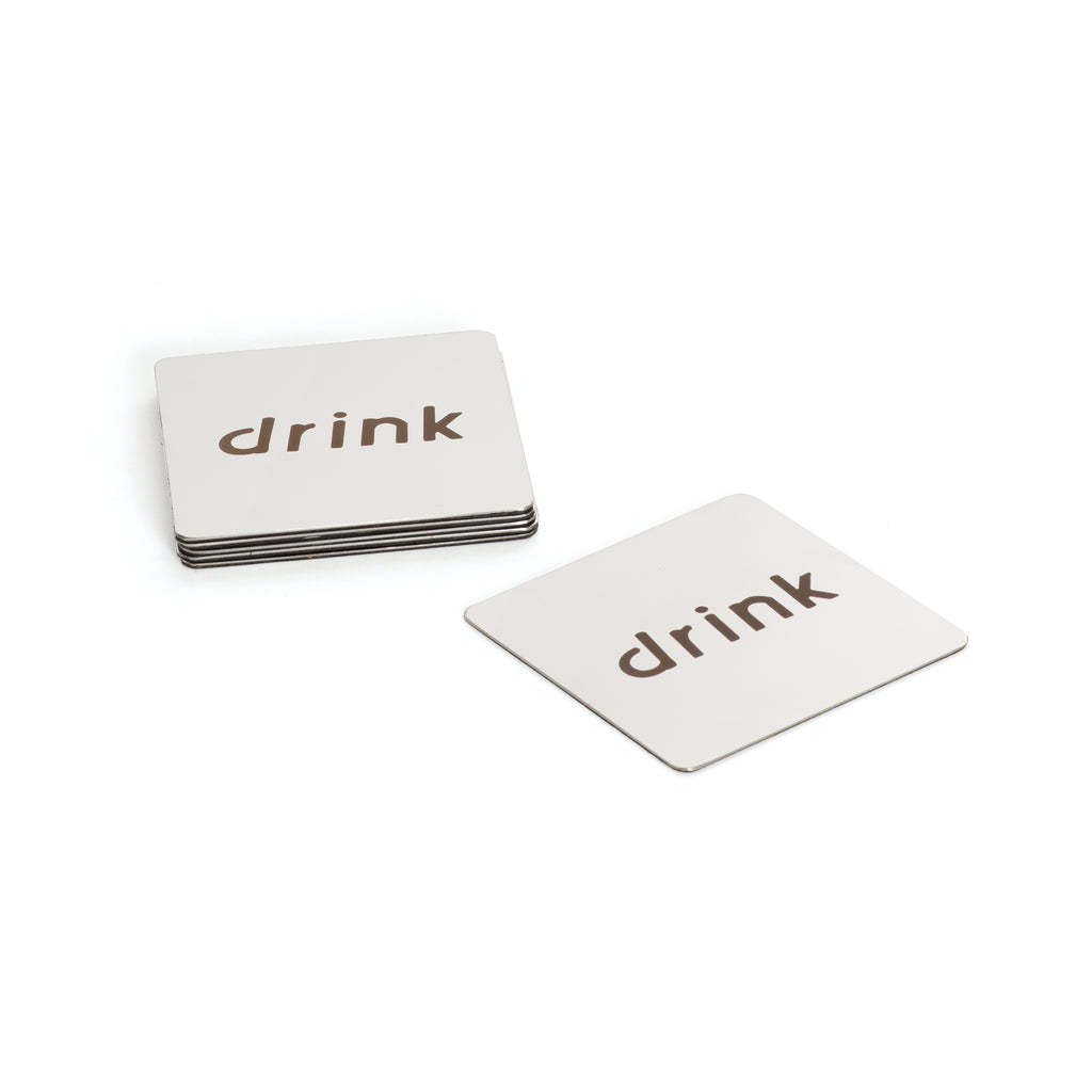 "Set of Six ""Drink"" Coasters"