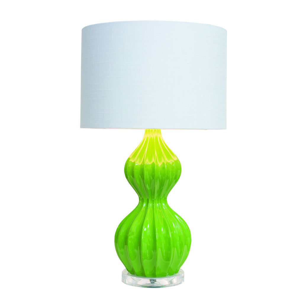 Lime Ribbed Peanut Accent Lamp