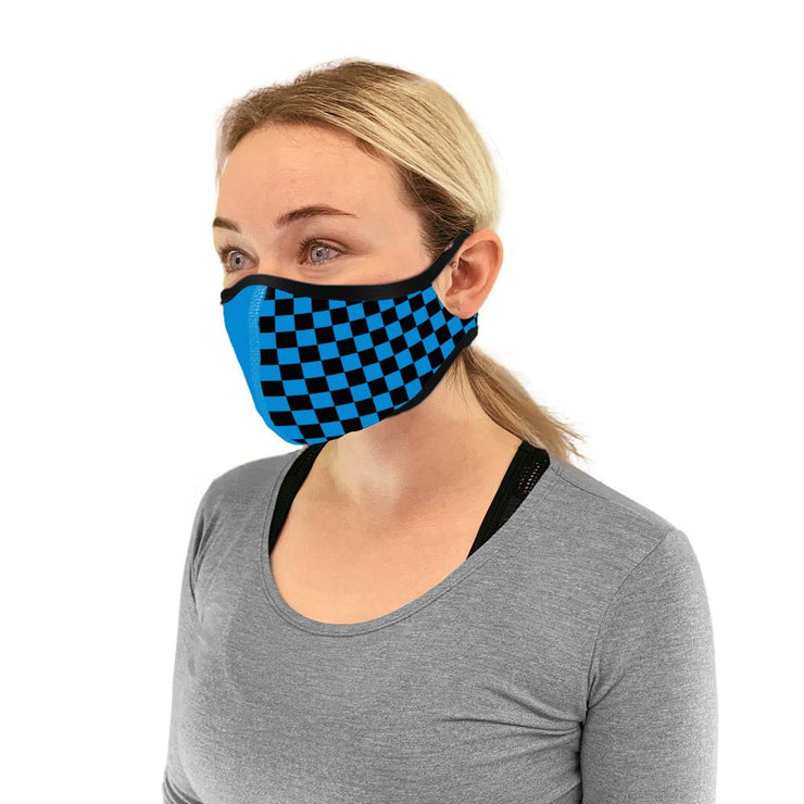 Side view of Charlotte FC face mask with checkers