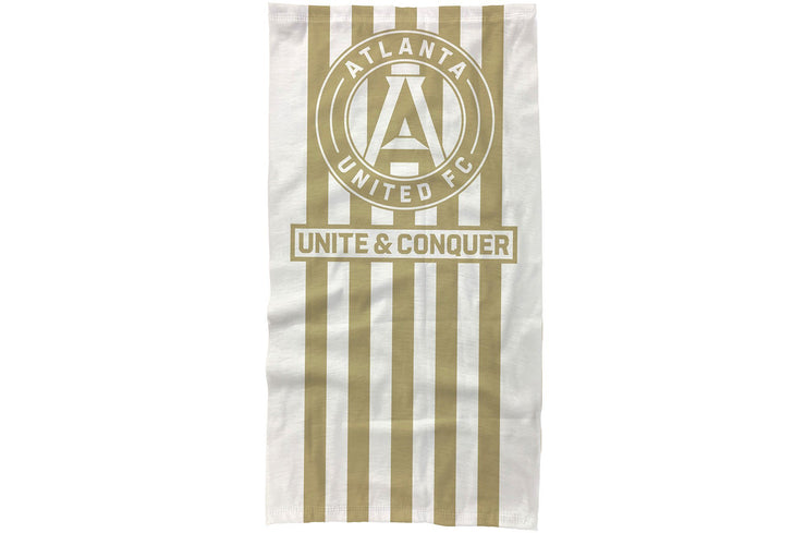 Atlanta United neck gaiter with gold stripes