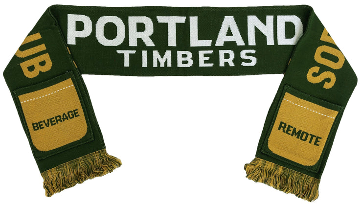 Portland Timbers sofa supporters pocket scarf folded