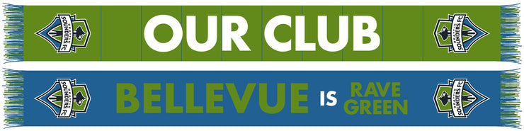 SEATTLE SOUNDERS SCARF - Our Club (Bellevue, Bellingham, Everett, Olympia, Spokane, Tacoma, Wenatchee, Yakima)