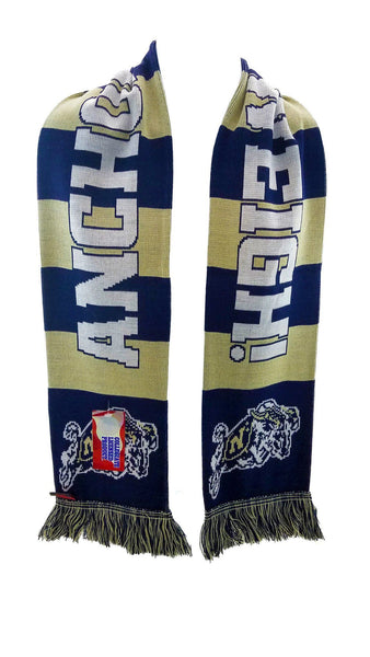 NAVY SCARF - Blue and Gold Bars - Ruffneck Scarves - 2