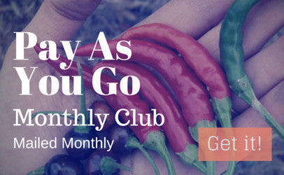Different chili peppers in hand with text over the top saying Pay As You Go hot sauce club subscription