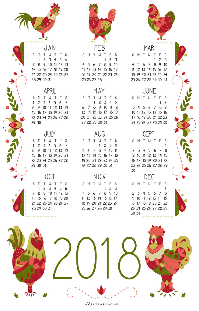 Calendar 2018 Kitchen Towel
