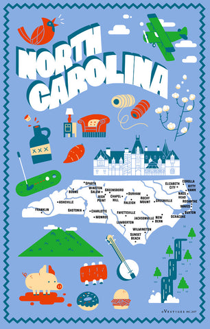 North Carolina State Icons Kitchen Towel