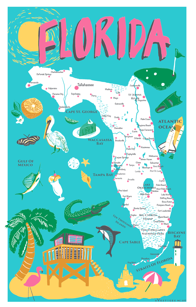 Florida Icons Kitchen Towel