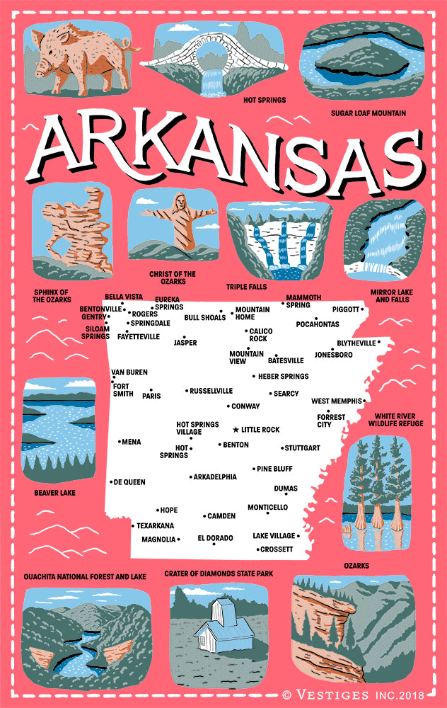 Arkansas Icons Kitchen Towel