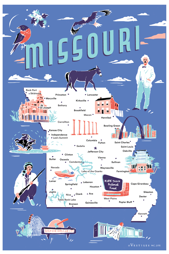 Missouri Icons Kitchen Towel