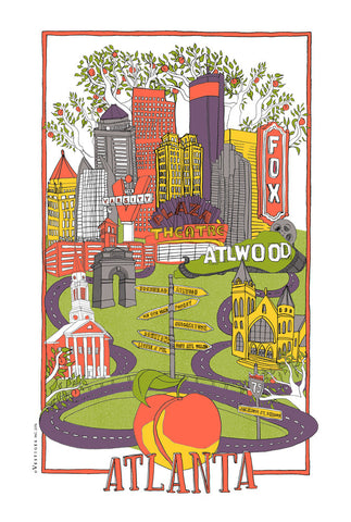 Atlanta City Collage Kitchen Towel