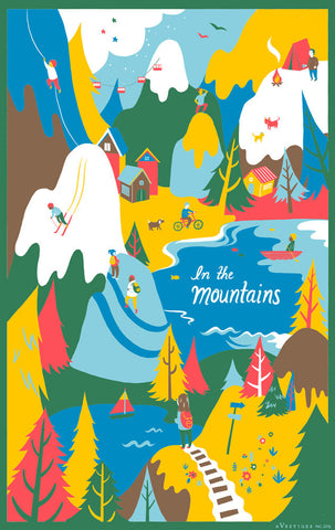 In the Mountains Region Kitchen Towel