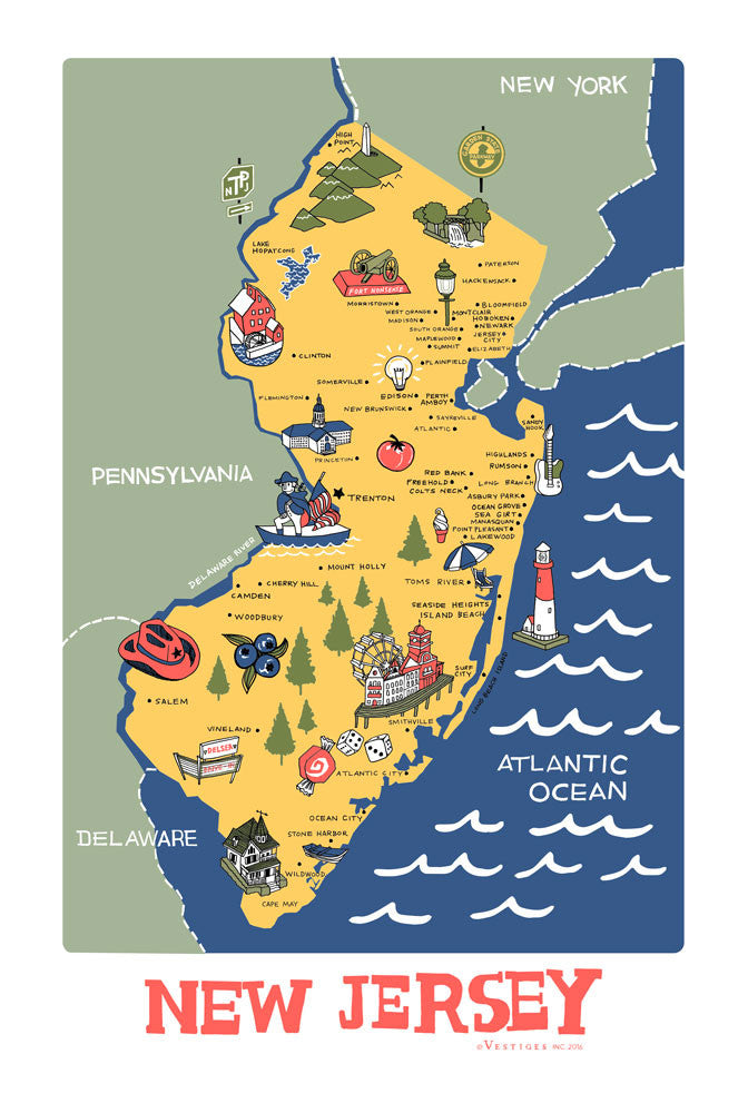 New Jersey Icons Kitchen Towel