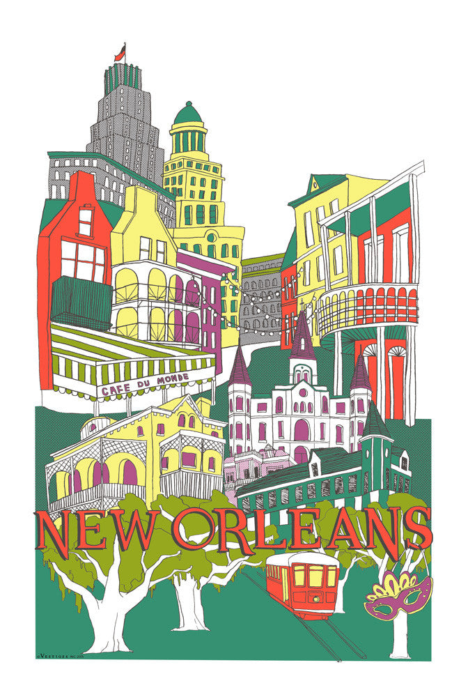 New Orleans City Collage Kitchen Towel