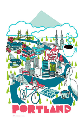 Portland City Collage Kitchen Towel