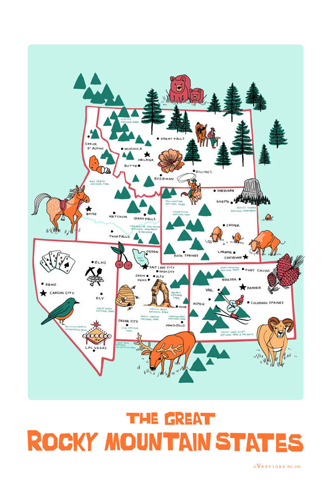 The Rocky Mountain States Region Kitchen Towel