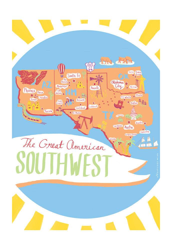 The Great American Southwest Region Kitchen Towel