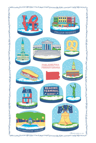 Philadelphia Snow Globes Kitchen Towel