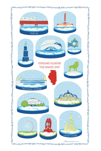 Chicago Snow Globe Kitchen Towel