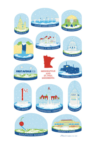 Twin Cities Snow Globe Kitchen Towel