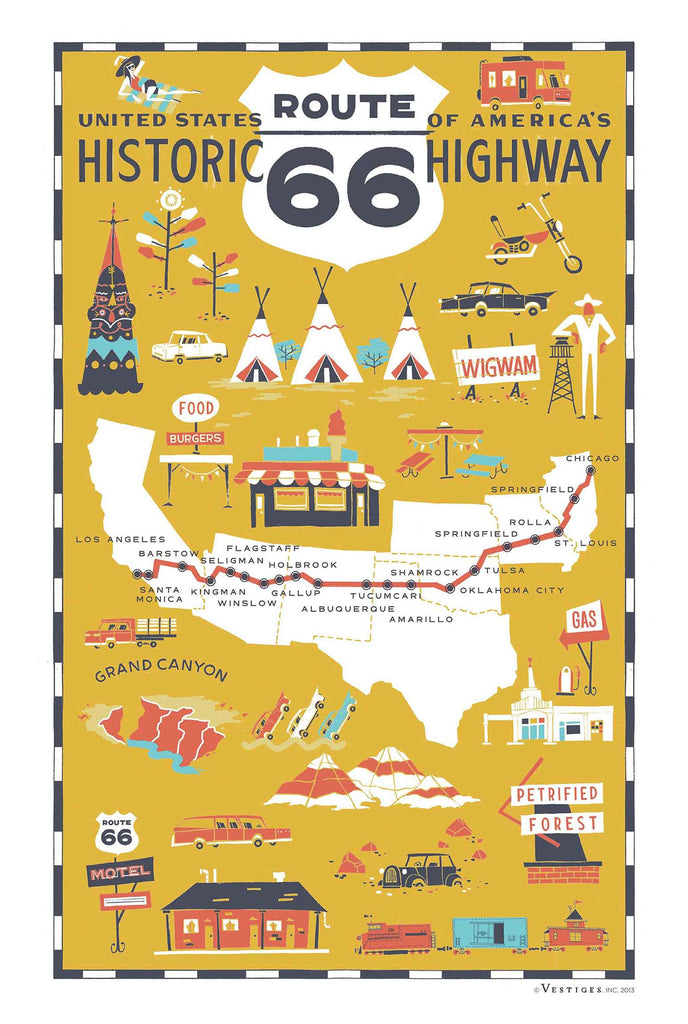 Route 66 Highway Kitchen Towel
