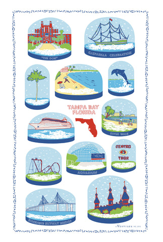 Tampa Bay Snow Globe Kitchen Towel