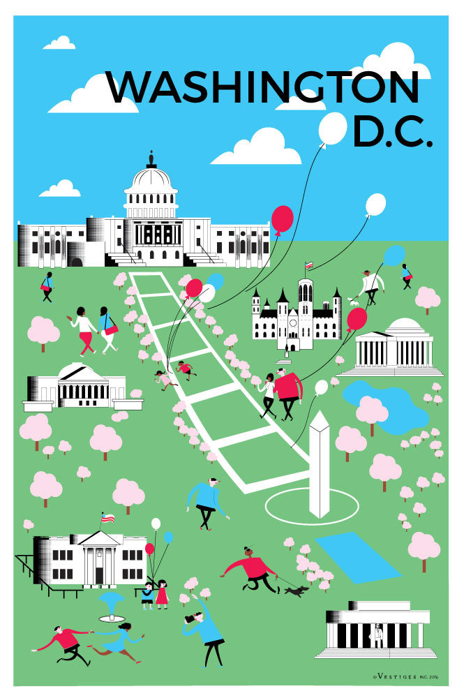 Washington DC Aerial View Kitchen Towel