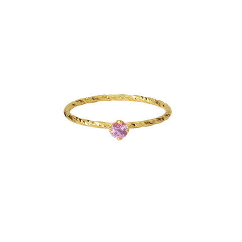 Pretty In Pink Sapphire ring in gold, made from a claw-set pink sapphire on our signature sparkling band.
