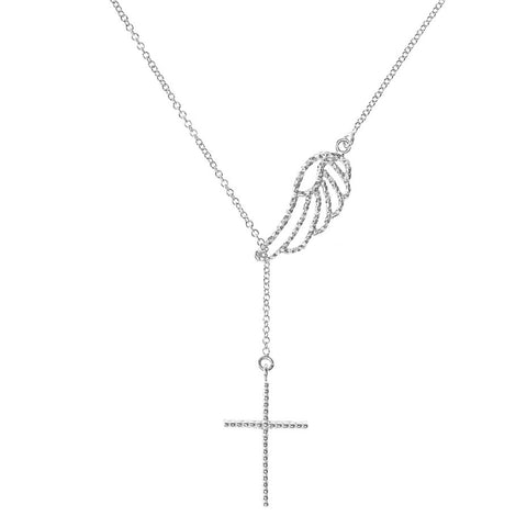 Angel Wing and Cross Lariat necklace in silver, featuring a 3-d lace effect cross hanging beneath a delicate angel wing.
