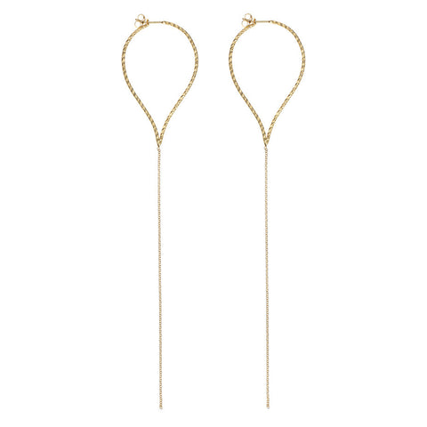 Billowing Sail Pointed Hoop Earrings in gold, featuring pointed hoops with a drop of delicate chain.