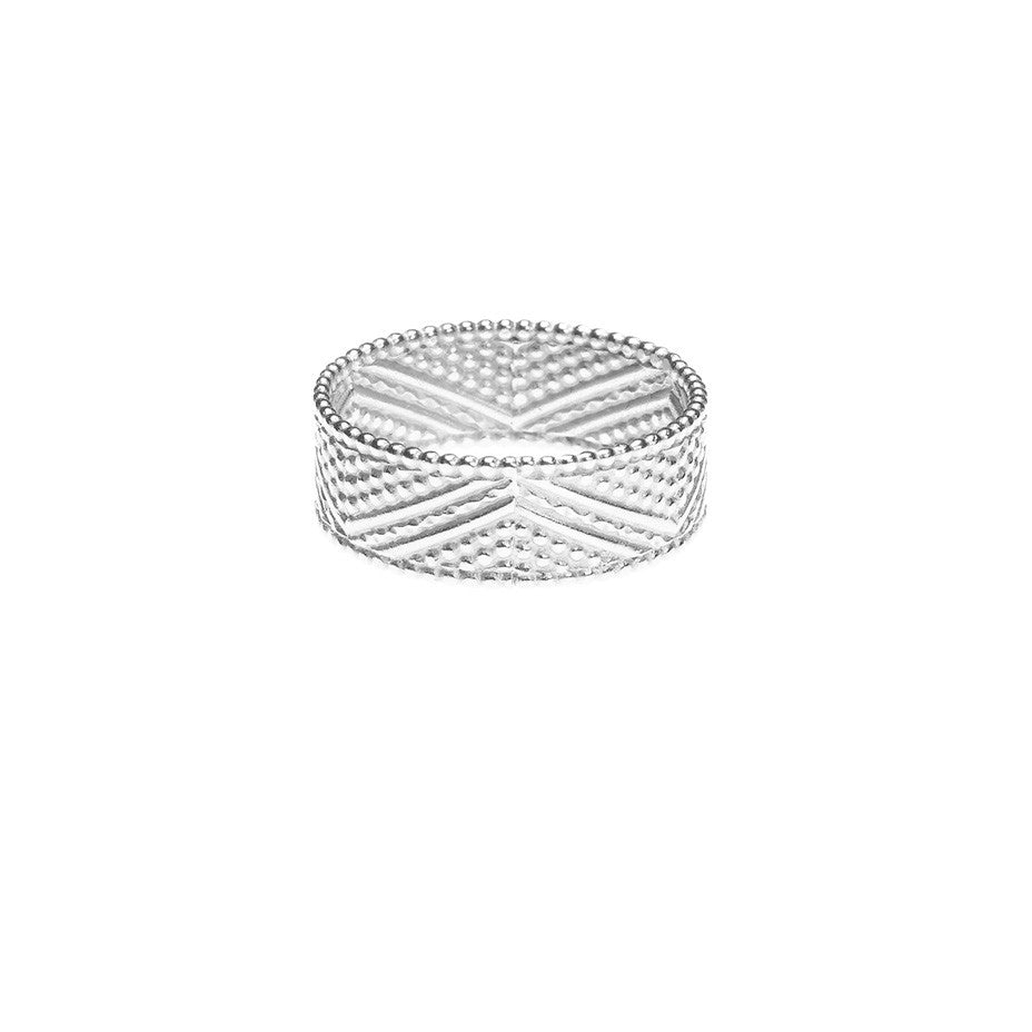 Brave Heart Warrior Chevron ring in silver.