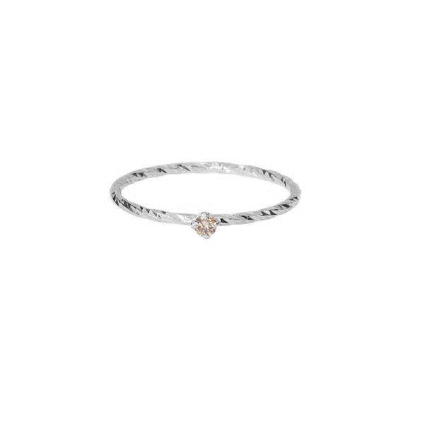 Champagne Diamond Ring - Silver