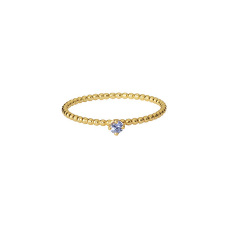 Delicate Forget-Me-Not blue sapphire beaded ring in gold.