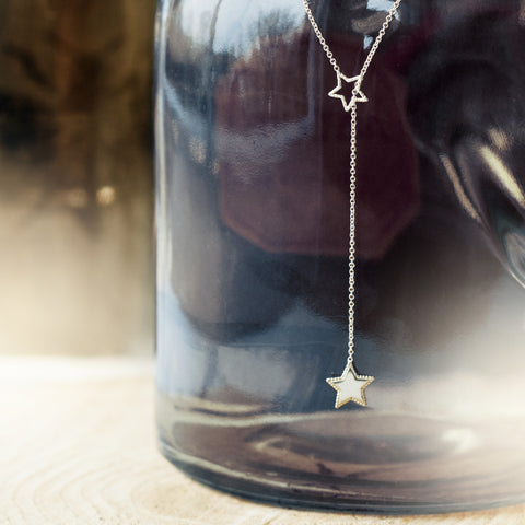 Estella Star Lariat Necklace - Silver/Gold