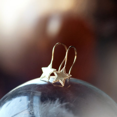 SALE Beaded Star Earrings - Gold/Silver