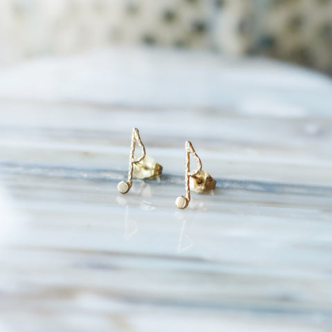 Music Note Stud Earrings - Gold