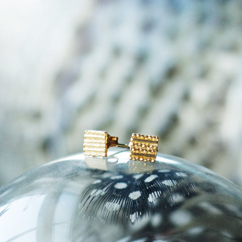 Textured Square Stud Earrings - Gold
