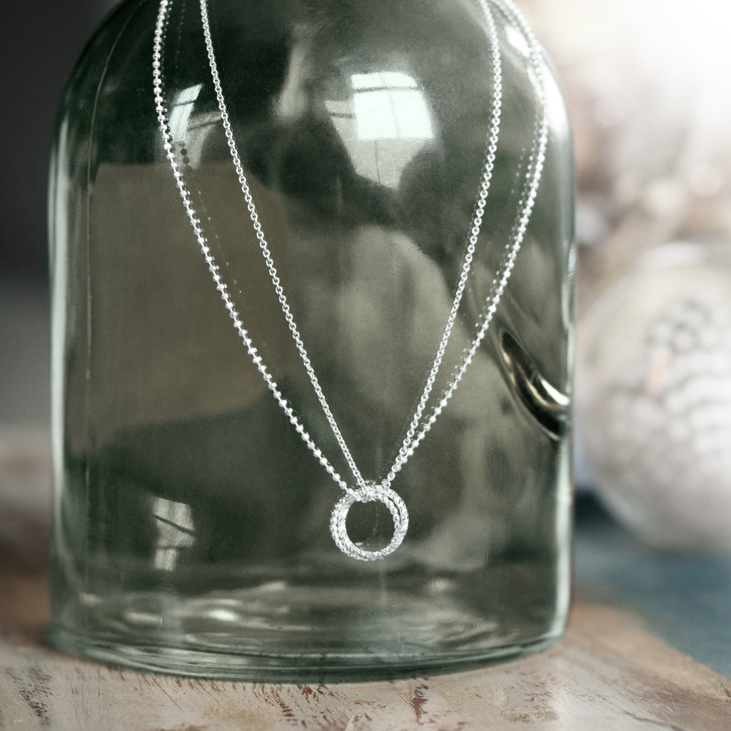 SALE Double Linked Circle Necklace - Silver