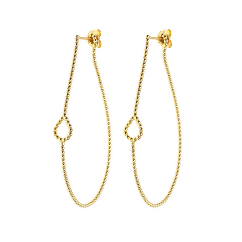 Dew Drop Hoop earrings in gold, featuring little drop shapes.