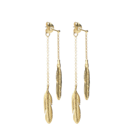 Take Flight Feather Front and Back earrings in gold, featuring two little feathers on delicate swinging chain.
