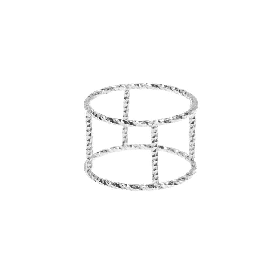 The Double protective Circle ring in silver, made from our signature diamond cut faceted wire.