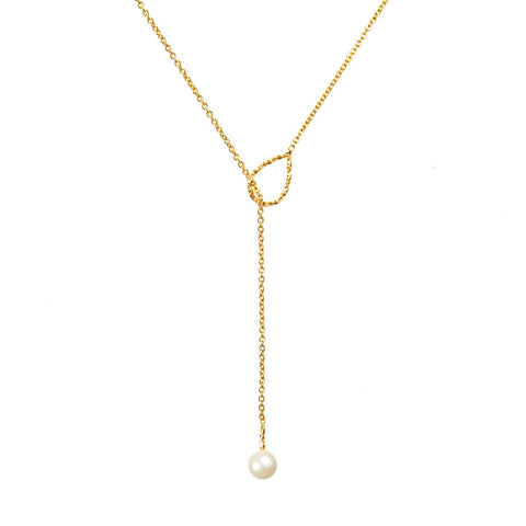 Full Moon White Pearl Lariat Necklace - Gold